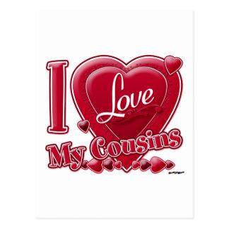 Eu amo meu vermelho dos primos - coração cartão postal