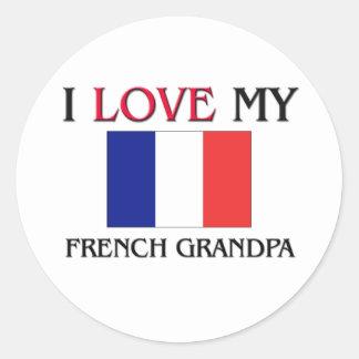 Eu amo meu vovô francês adesivo em formato redondo
