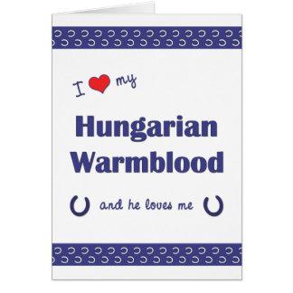 Eu amo meu Warmblood húngaro o cavalo masculino Cartoes