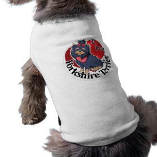 Eu amo meu Yorkshire engraçado & bonito adorável Camisa Sem Mangas Para Cachorro