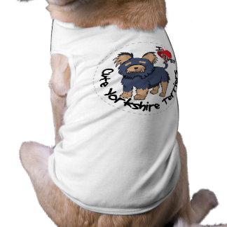 Eu amo meu yorkshire terrier engraçado & bonito camisa sem mangas para cachorro
