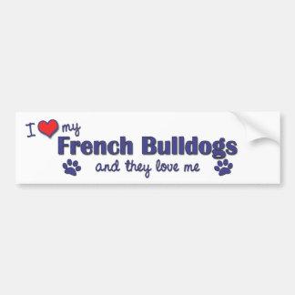 Eu amo meus buldogues franceses (os cães múltiplos adesivo para carro