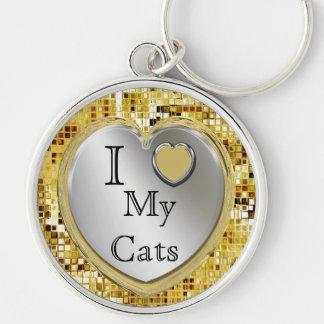 Eu amo meus gatos ou? Chaveiro do coração