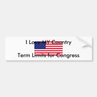 Eu amo MEUS limites de mandato do país para o cong Adesivo Para Carro