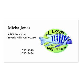Eu amo meus peixes modelos cartões de visita