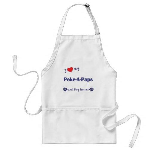Eu amo meus Peke-UM-Paps (os cães múltiplos) Avental