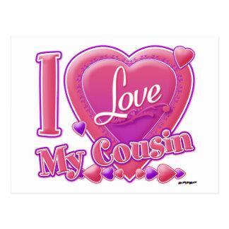 Eu amo meus rosa do primo/roxo - coração cartão postal