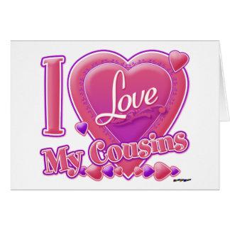 Eu amo meus rosa dos primos/roxo - coração cartoes