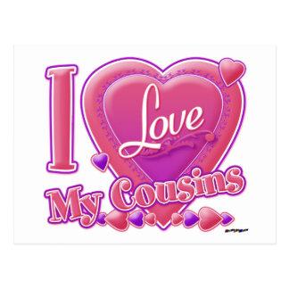 Eu amo meus rosa dos primos/roxo - coração cartão postal