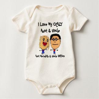 Eu amo meus tia e tio loucos Desenhos animados Body Para Bebê