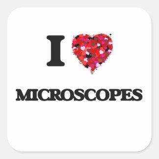 Eu amo microscópios adesivo quadrado