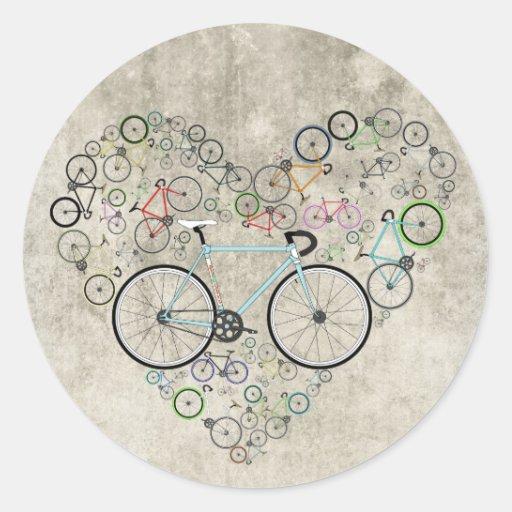 Eu amo minha bicicleta adesivos em formato redondos