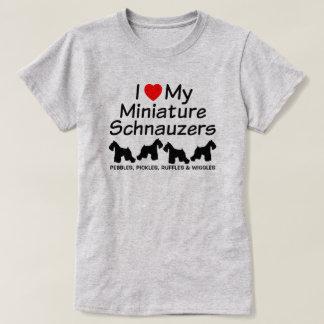 Eu amo minha camisa de quatro cães do Schnauzer