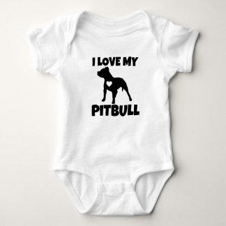 Eu amo minha camisa do bebê do cão de Pitbull