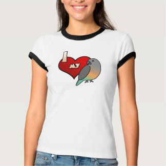 Eu amo minha camiseta inchada vermelho do papagaio