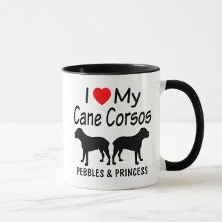 Eu amo minha caneca de café de DOIS cães de Corso