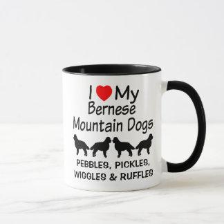 Eu amo minha caneca de QUATRO cães de montanha de