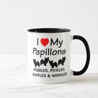 Eu amo minha caneca de quatro cães de Papillon