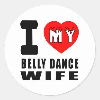 Eu amo minha esposa da dança do ventre adesivos em formato redondos