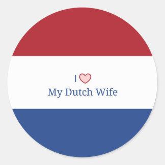 Eu amo minha esposa holandesa - bandeira de Países Adesivo