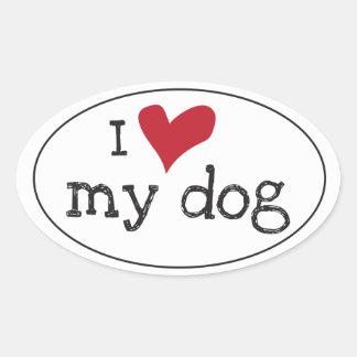Eu amo minha etiqueta do cão adesivo oval