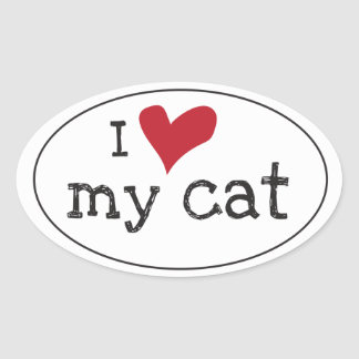 Eu amo minha etiqueta do gato adesivo oval