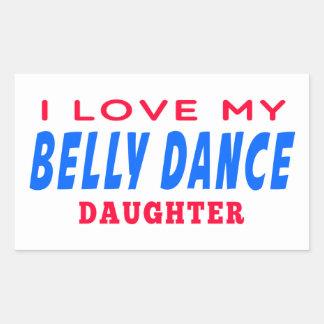 Eu amo minha filha da dança da dança do ventre adesivos em formato retangulares