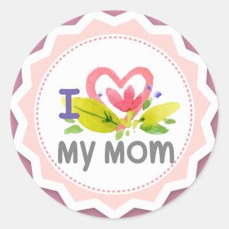 Eu amo minha flor Starburst do coração da mamã Adesivo Redondo
