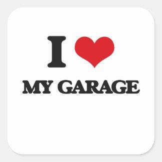 Eu amo minha garagem adesivo quadrado