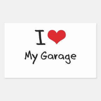 Eu amo minha garagem adesivo retângular