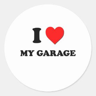 Eu amo minha garagem adesivos redondos