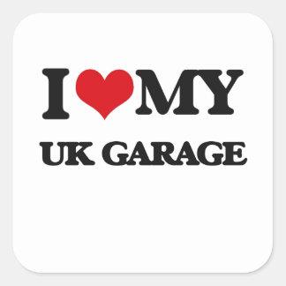 Eu amo minha GARAGEM BRITÂNICA Adesivo Em Forma Quadrada