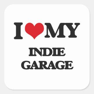 Eu amo minha GARAGEM INDIE Adesivos Quadrados