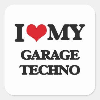 Eu amo minha GARAGEM TECHNO Adesivo Quadrado
