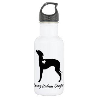 Eu amo minha garrafa de água do galgo italiano