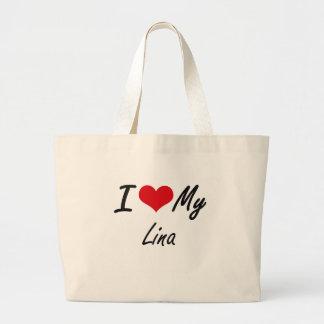 Eu amo minha Lina Sacola Tote Jumbo