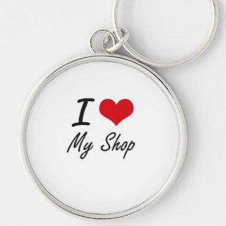 Eu amo minha loja chaveiro redondo na cor prata