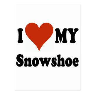 Eu amo minha mercadoria do gato do sapato de neve cartoes postais