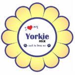 Eu amo minha mistura de Yorkie (o cão masculino) Foto Escultura