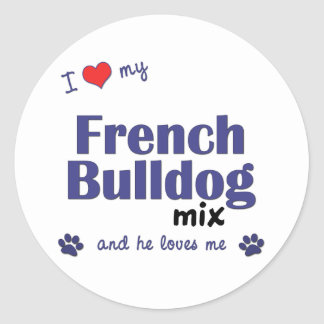Eu amo minha mistura do buldogue francês (o cão adesivo redondo