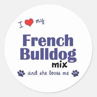 Eu amo minha mistura do buldogue francês (o cão adesivos redondos