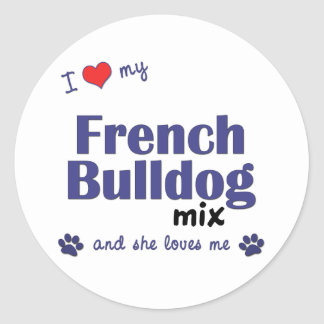 Eu amo minha mistura do buldogue francês o cão fê adesivos redondos