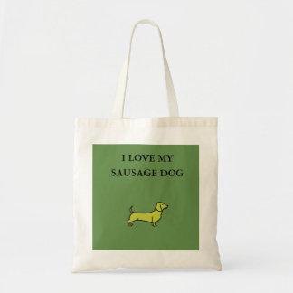 Eu amo minha sacola do cão de salsicha - amarelo bolsa tote