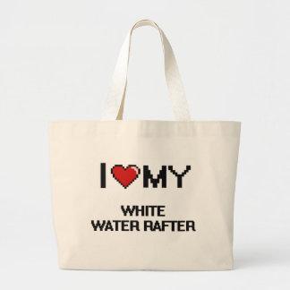 Eu amo minha viga da água branca sacola tote jumbo