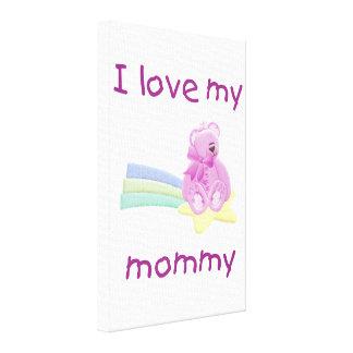 Eu amo minhas mamães (o urso cor-de-rosa com estre impressão em tela canvas