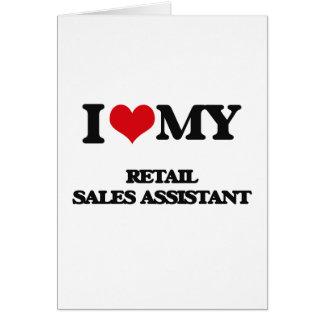 Eu amo minhas vendas a retalho assistentes cartoes