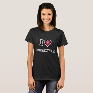 Eu amo mochileiros camiseta