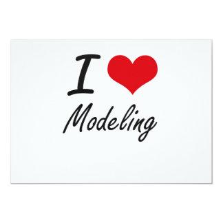 Eu amo modelar convite 12.7 x 17.78cm