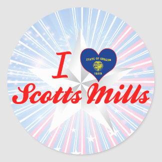 Eu amo moinhos de Scotts, Oregon Adesivo Redondo