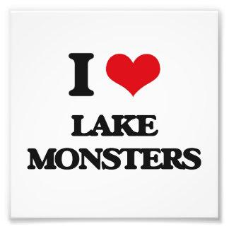 Eu amo monstro do lago impressão de foto